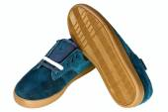 Dark blue velvet man's shoe — Stock Photo