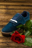 Dark blue man's shoe and rose — Stock Photo
