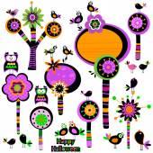Halloween whimsy flowers — Stock Vector