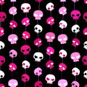 Girlish aggressive cute black and pink skulls, seamless pattern — Stock Vector