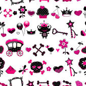 Aggressive style princess seamless pattern — Vector de stock