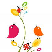 Birds and ladybirds — Stock Vector