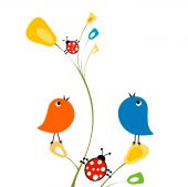 Birds and ladybirds — Stock Vector