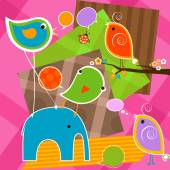 Cute birds and elephant with bubbles speech — Stock Vector
