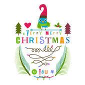 Christmas greeting design with bird  — Vector de stock