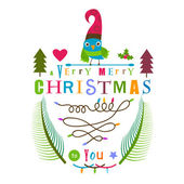 Christmas greeting design with bird  — Vetorial Stock