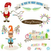 Cute santa and deer, christmas colorful elements set — Vetorial Stock