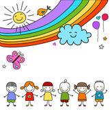 Kids group and rainbow — Stockvektor