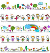 Colorful pattern with children and cute nature elements — Stock Vector