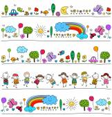 Colorful pattern for children with cute nature elements — Stock Vector