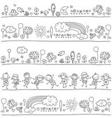 Pattern for children with cute nature elements — Stock Vector