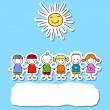 Group of kids with sun  — Stock Vector #71218717