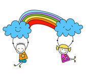 Счастливые дети — Cтоковый вектор