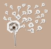 Silhouettes of dandelion in the wind — Stock Vector