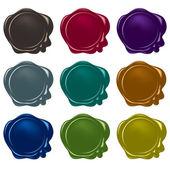Vector wax seals collection — Stock Vector