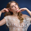 Beautiful woman in lace white blouse. — Stock Photo #54963629