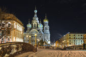 Night winter Church Savior on Blood in St-Petersburg — Stock Photo