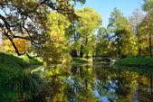 Autumn landscape with bridge in  Pushkin, — Foto de Stock