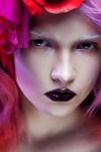 Beautiful girl with pink hair,  looking at you — Stock Photo