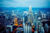 Kuala Lumpur skyline at night, view of the centre  city from TV tower — Stock Photo