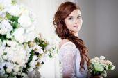 Portrait of beautiful bride. Wedding dress. Decoration — Stock Photo