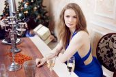 Portrait of cheerful girls at the Cristmas party — Stock Photo
