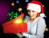 Woman on Christmas — Stock Photo