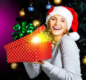 Woman  on Christmas — Stock Photo