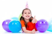 Girl with colorful balloons. — Stock Photo
