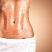 Beautiful body with scrub  — Stock Photo