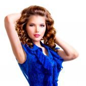 Sensual woman in blue dress. — Stock Photo