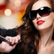 Fashion woman in trendy sunglasses — Stok fotoğraf #59361075