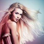 Beautiful woman with long white hair. — Stock Photo