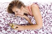 Woman overslept — Stock Photo