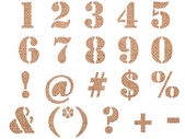 Burlap material textured numbers, signs and symbols — Stock Photo