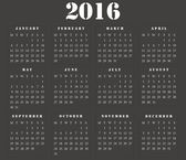 Simple european square calendar 2016 — Stock Photo