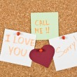 I Love You Note pinned to a cork memory bulletin board. — Stock Photo #61998377