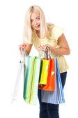 Vrouw met winkelen bag — Stockfoto
