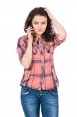 Woman with cellular telephone — Stock Photo