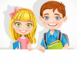 Cute school boy and girl with textbooks and backpack hold a big — Stock Vector