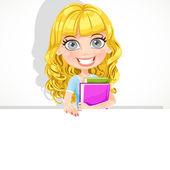 Cute teen girl with wavy hair hold a big banner — Stockvektor
