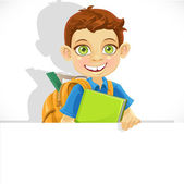 Cute boy with a backpack  hold big banner — Stock Vector