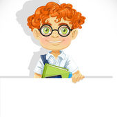 Cute redhead boy in glasses hold big banner — Vector de stock