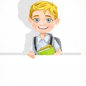 Cute school boy with textbooks and backpack hold a big banner — Stock Vector