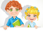 Cute school boy and girl with book hold big banner — Stock Vector
