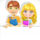 Cute teenage boy and girl with a textbook hold big white banner — Vector de stock