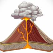 Diagram of volcano isolated on white background — Stock Vector