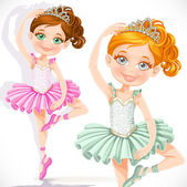 Cute little ballerina girl in pink and green tutu and tiara isol — Stock Vector
