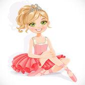 Beautiful ballerina girl in pink dress sit on floor isolated on  — Stock Vector