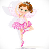 Cute little fairy girl in pink tutu and tiara isolated on a whit — Stockvector